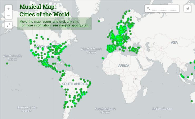 mapa interactivo tendencias musicales por ciudades