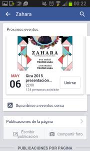 Evento suscripción Facebook - Zahara