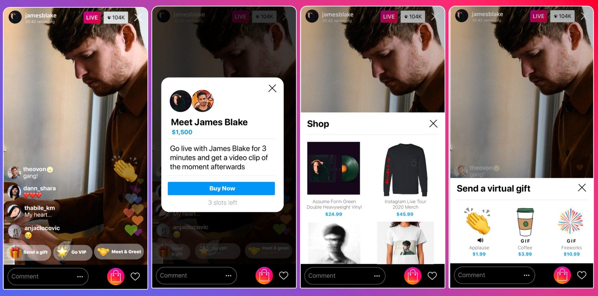 instagram planes monetizar live artistas