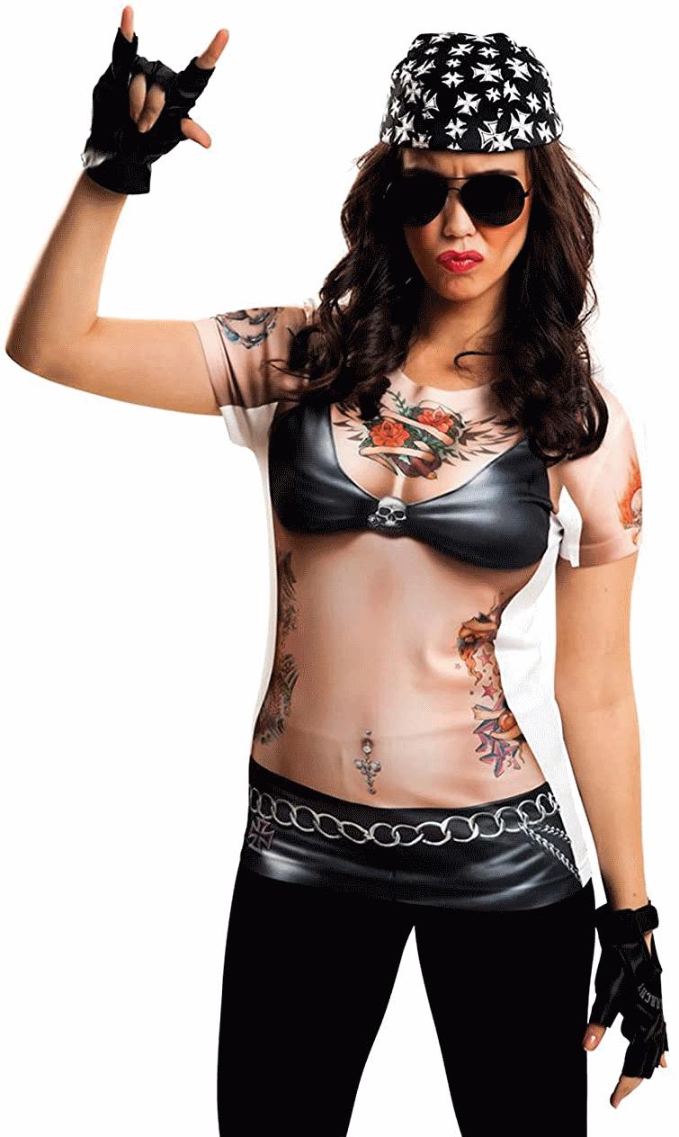 disfraz motera rockera